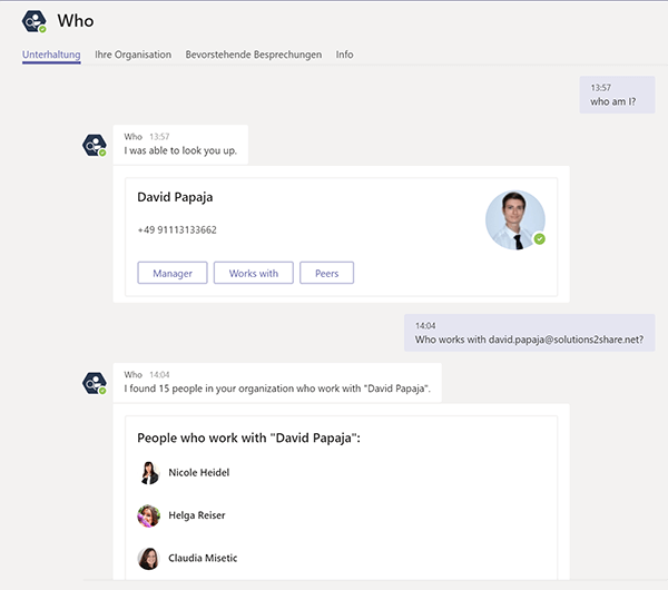 Find employees or specific information about an employee in Microsoft Teams with Who-Bot