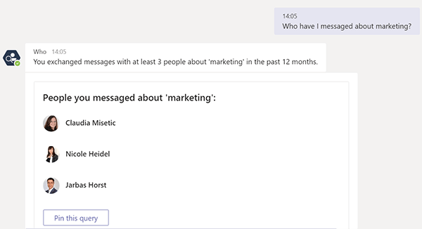 Find people you emailed or messaged in Microsoft Teams with Who-Bot