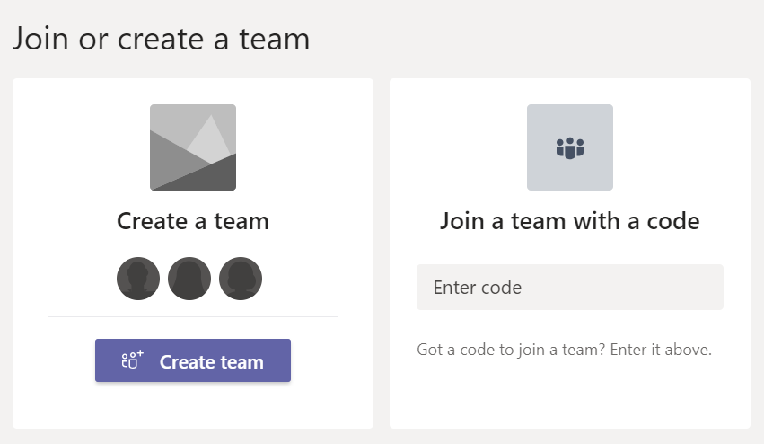 Join or create a team in Microsoft Teams.