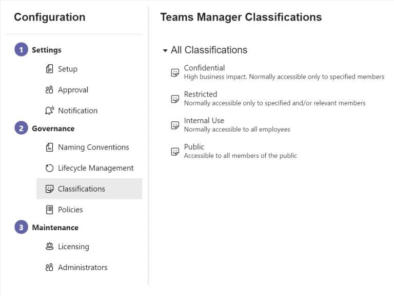 Teams Manager Klassifizierungen