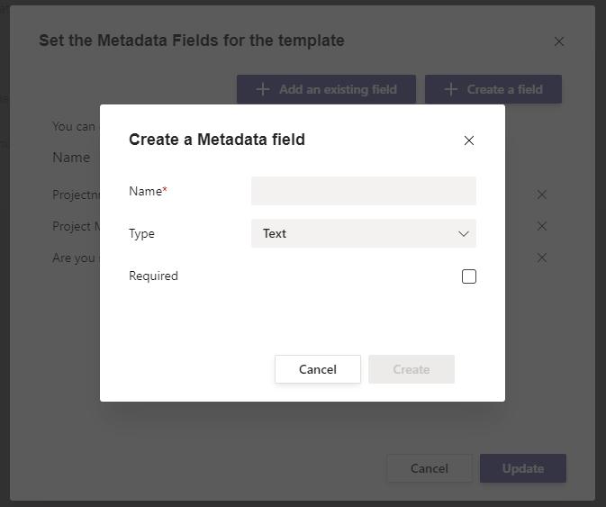Create a Metadata field in Microsoft Teams.