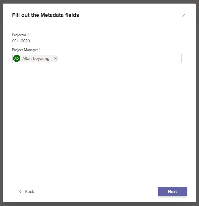 Metadata for Microsoft Teams Use Case: Define Project Number and Project Manager