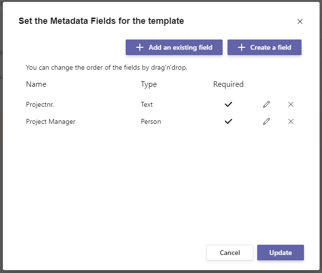 Set the Metadata Fields for the template in Microsoft Teams.
