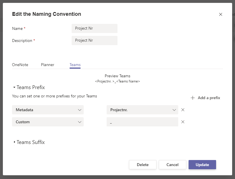 Edit the Naming Convention in Microsoft Teams.