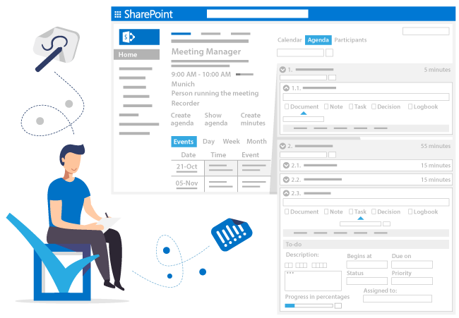Create a agenda with documents, notes, decisions and tasks for your meeting in SharePoint and Office 365