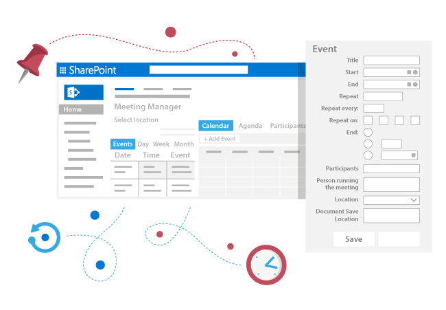 Create serial appointments, define roles and storage of your meeting in SharePoint and Office365