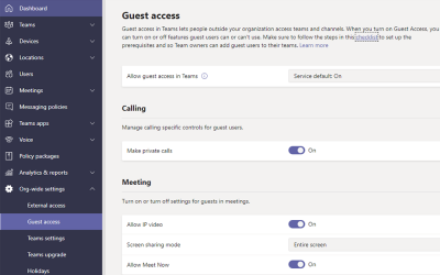 Guest access in Microsoft Teams admin center