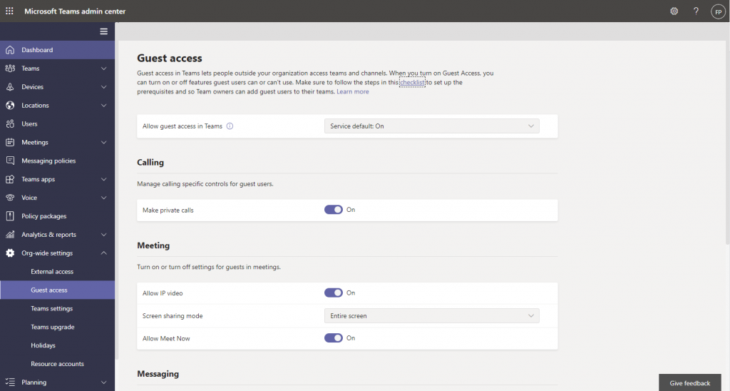 Activate guest access for  Microsoft Teams