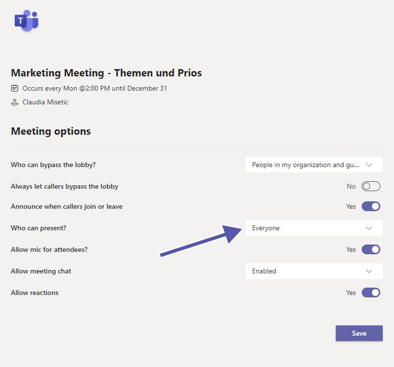 Microsoft Teams page meeting options
