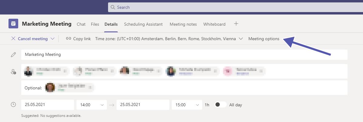 Teams Security: meeting options