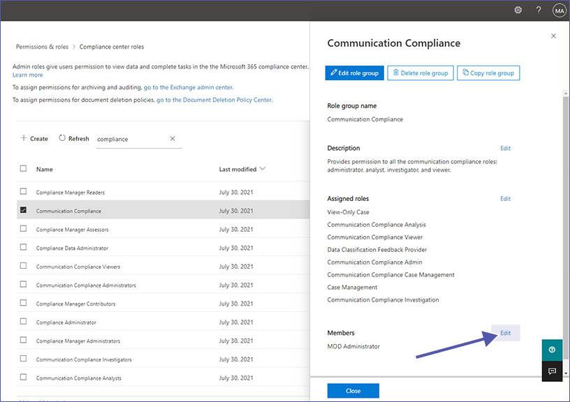 Berechtigungen für Communication Compliance
