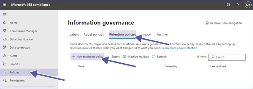 Microsoft Information Governance: Richtlinien zur Datenaufbewahrung