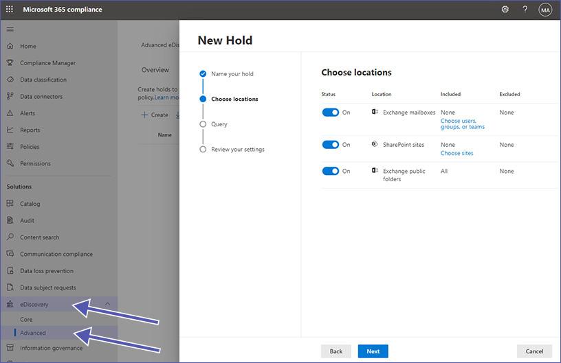 Microsoft Advanced eDiscovery: Optionen für den Hold auswählen