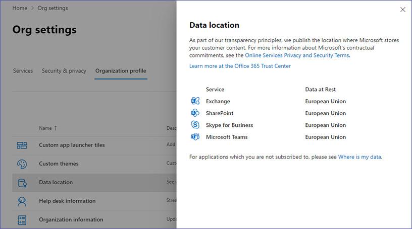 Profil der Organisation: Speicherort der Daten